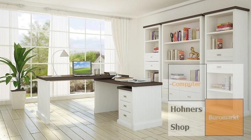 massivholz schreibtisch winkelschreibtisch loft landhausstil weiss ebay. Black Bedroom Furniture Sets. Home Design Ideas