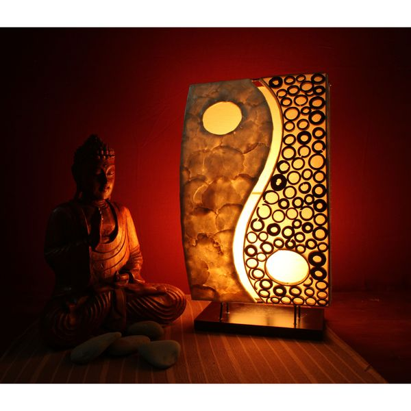 lestarie tischlampe deko lampen lampe feng shui yin yang muschel rattan ebay. Black Bedroom Furniture Sets. Home Design Ideas