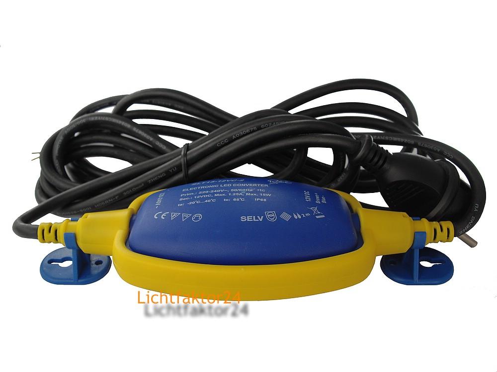 elektronischer trafo f r 12v led lampen 15w max ip68 outdoor konvertor treiber ebay. Black Bedroom Furniture Sets. Home Design Ideas