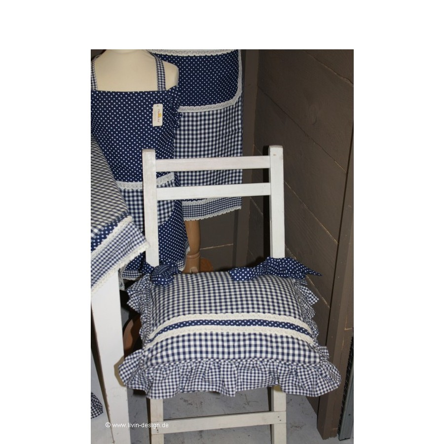 clayre eef stuhlkissen h lle bluecheck blau wei 40x40 ebay. Black Bedroom Furniture Sets. Home Design Ideas