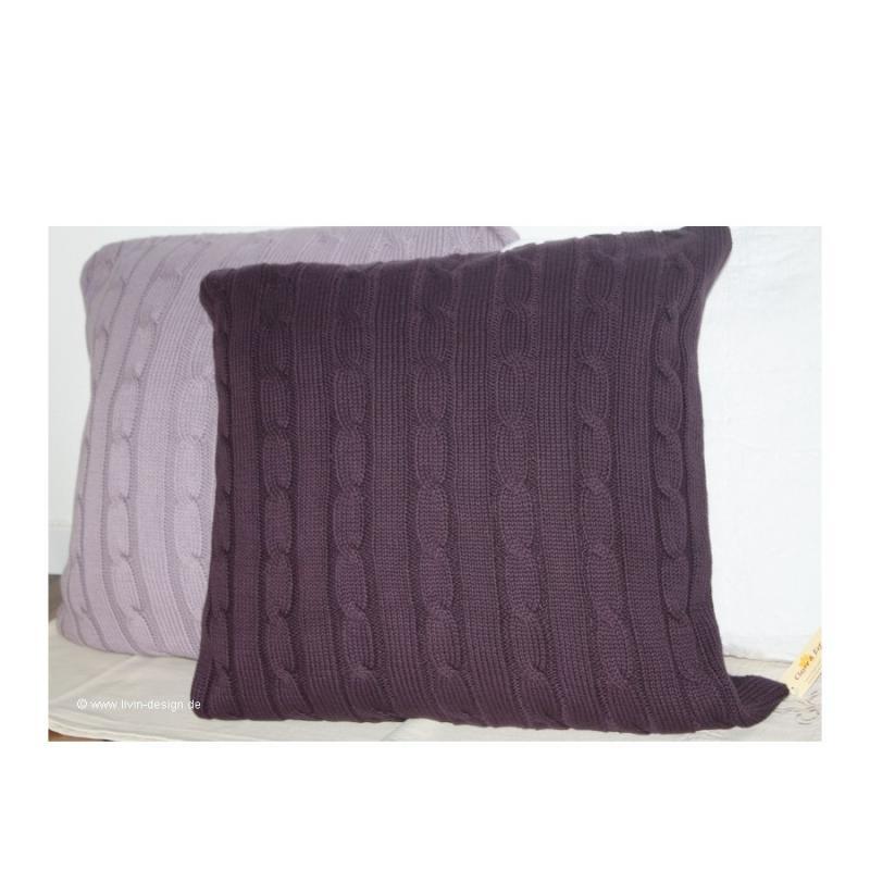 clayre eef strick kissen h lle lila zopfmuster 50x50 cm ebay. Black Bedroom Furniture Sets. Home Design Ideas