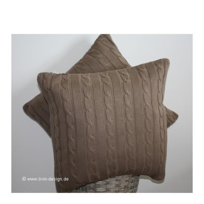 clayre eef strick kissen h lle braun zopfmuster 50x50 ebay. Black Bedroom Furniture Sets. Home Design Ideas