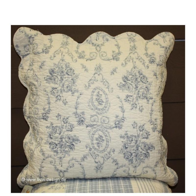 clayre eef kissenh lle 40 x 40 cm rosen landhausstil blau wei rosa ebay. Black Bedroom Furniture Sets. Home Design Ideas