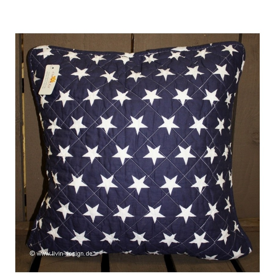 clayre eef kissen huelle stars blau weiss 40x40 cm ebay. Black Bedroom Furniture Sets. Home Design Ideas