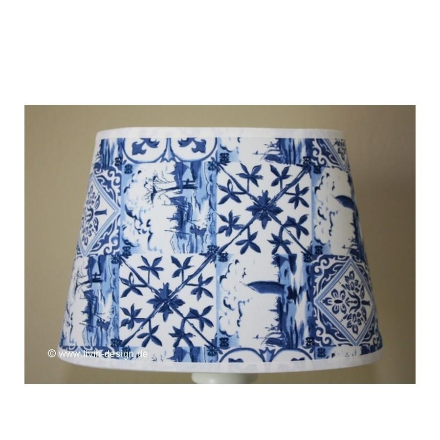lampenschirm 20 15 14 oval blau wei friesisch e27 ebay. Black Bedroom Furniture Sets. Home Design Ideas