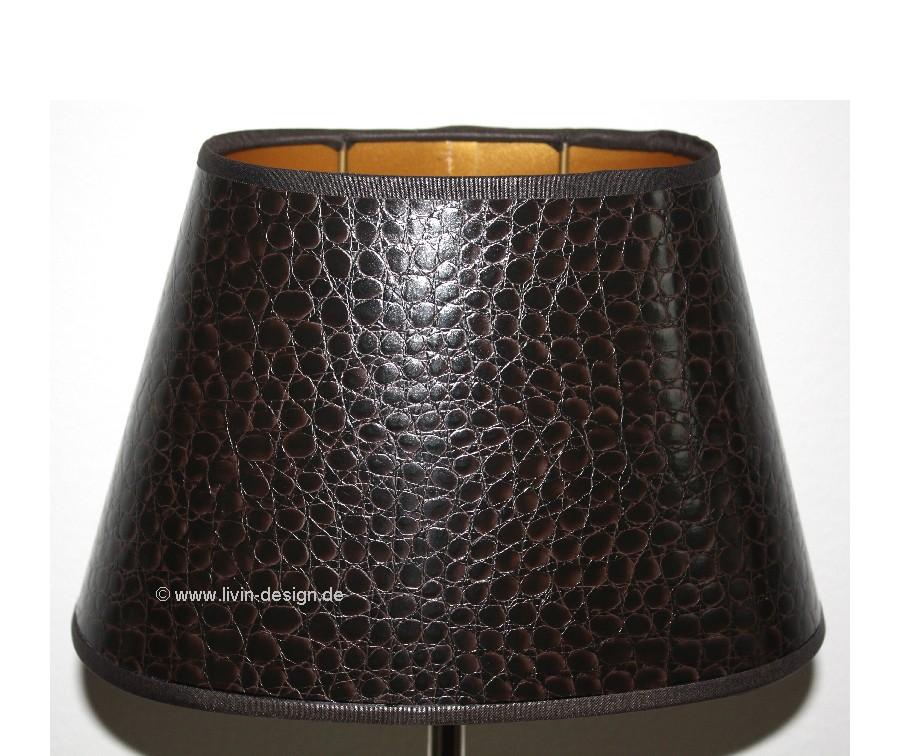lampenschirm 25 15 15 oval kaiman leder imitat braun gold. Black Bedroom Furniture Sets. Home Design Ideas