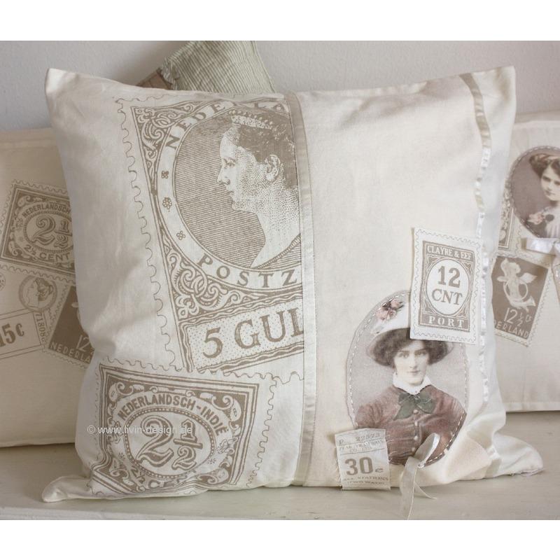 clayre eef kissen h lle paris creme samt 50x50 cm ebay. Black Bedroom Furniture Sets. Home Design Ideas