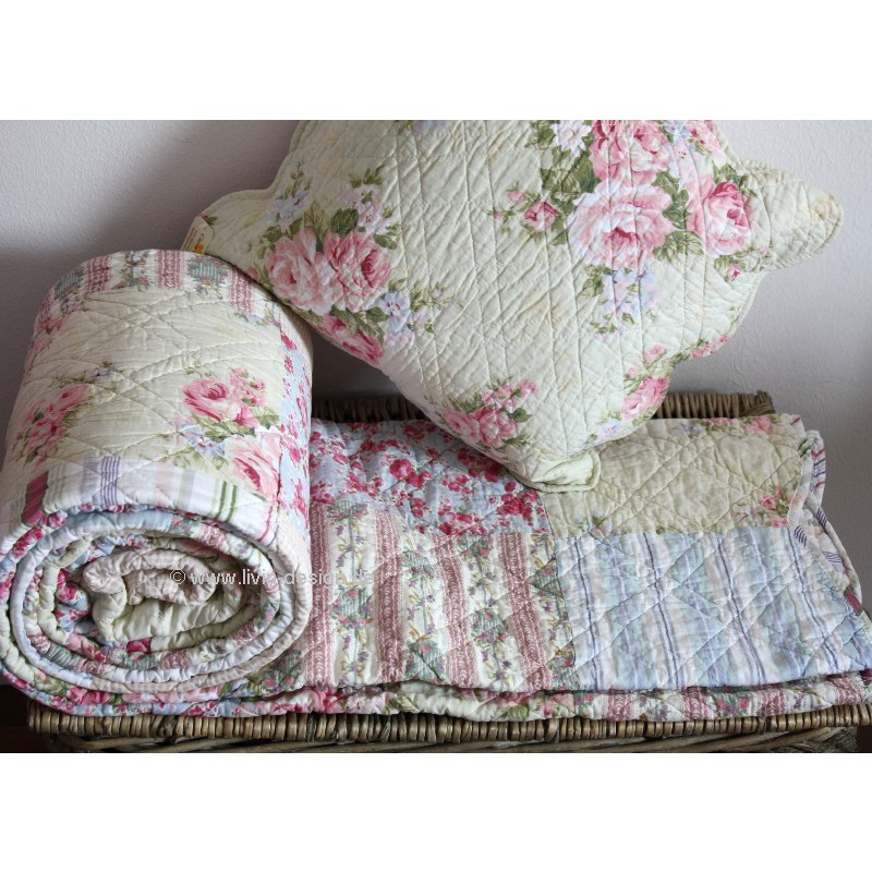Clayre eef tagesdecke quilt plaid oslo wei blau rosa for Clayre et eef