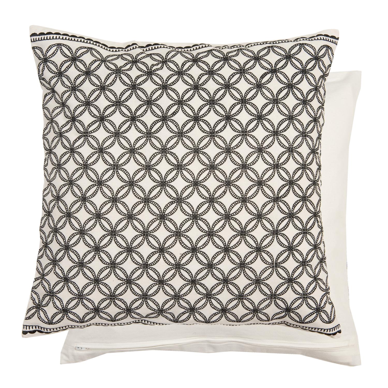 clayre eef kissen h lle ornamente bestickt schwarz wei 50x50 cm ebay. Black Bedroom Furniture Sets. Home Design Ideas