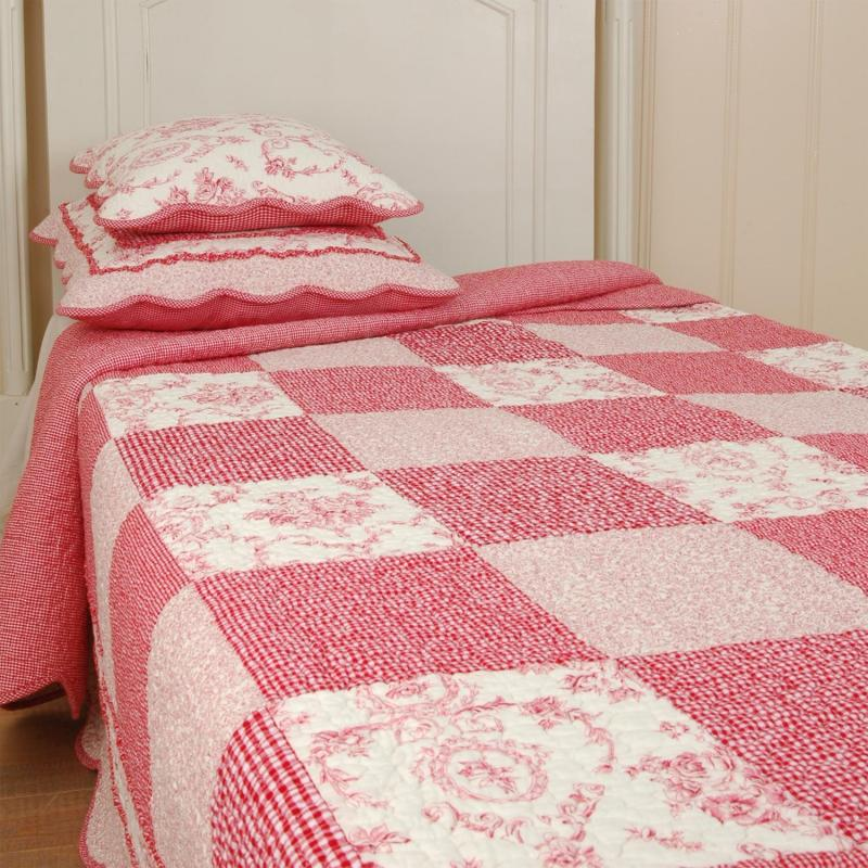 clayre eef tagesdecke quilt plaid berry rot wei 260x260 oder 300x260cm ebay. Black Bedroom Furniture Sets. Home Design Ideas