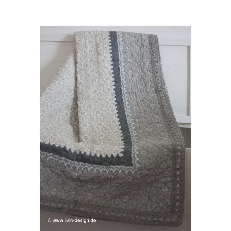 clayre eef tagesdecke quilt plaid plaid tilborg grau wei versch gr en ebay. Black Bedroom Furniture Sets. Home Design Ideas