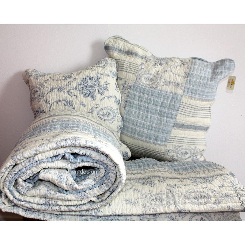 clayre eef tagesdecke quilt plaid fjord wei hellblau versch gr en ebay. Black Bedroom Furniture Sets. Home Design Ideas