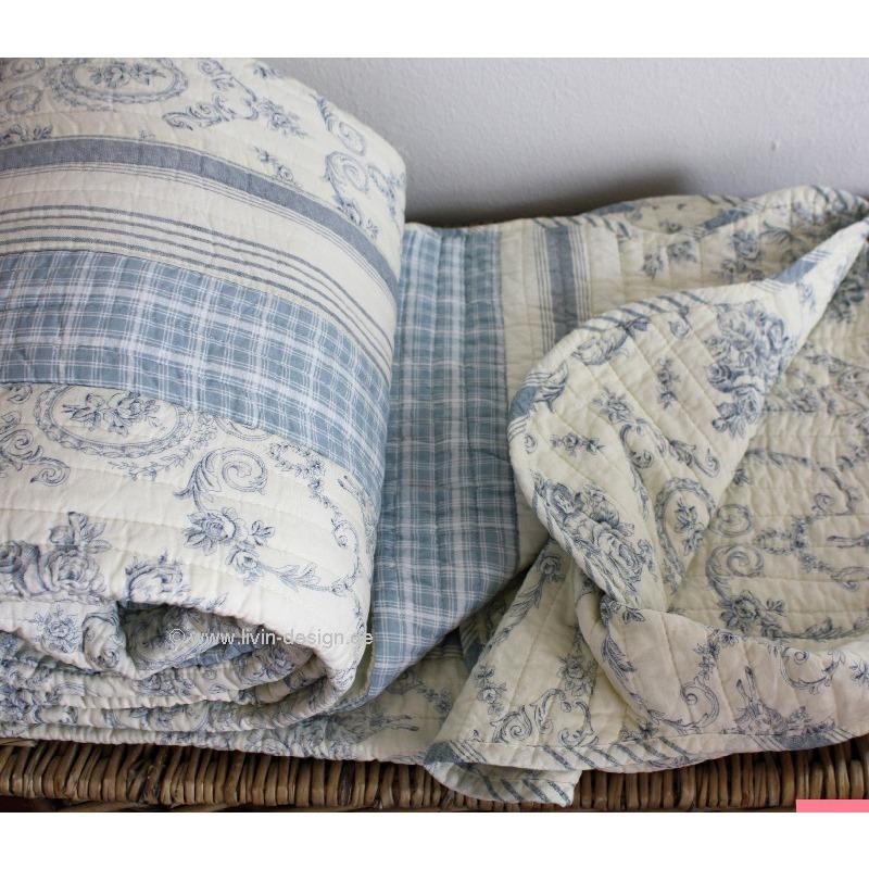 clayre eef tagesdecke quilt plaid fjord cremewei hellblau versch gr en ebay. Black Bedroom Furniture Sets. Home Design Ideas