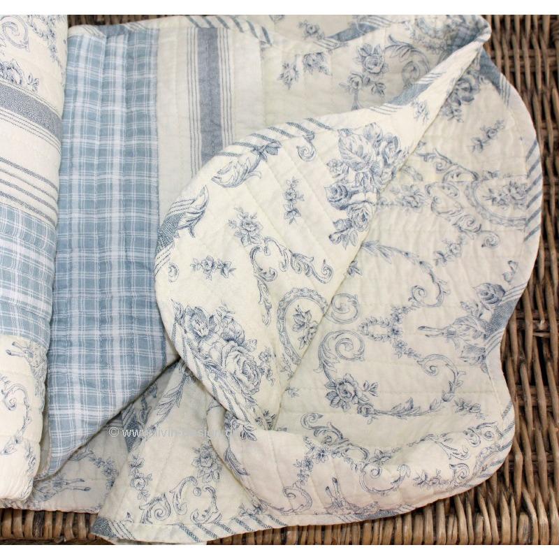 clayre fed couverture de jour quilt plaid fjord blanc bleu clair diff tailles. Black Bedroom Furniture Sets. Home Design Ideas