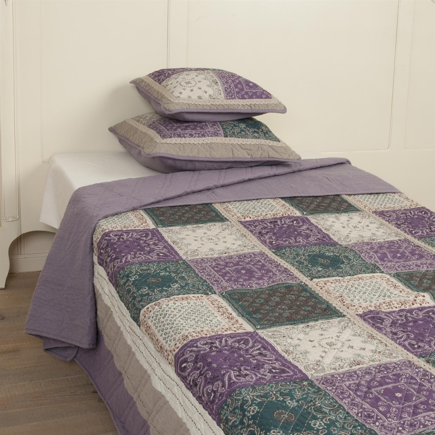 clayre eef tagesdecke quilt plaid purplepatch lila gr n beige versch gr en ebay. Black Bedroom Furniture Sets. Home Design Ideas