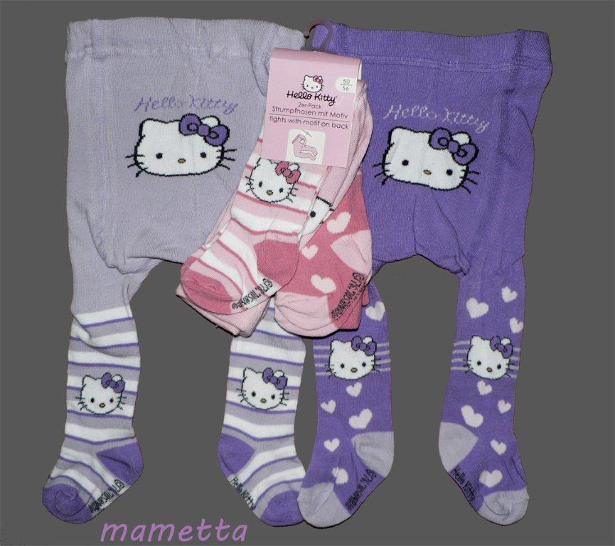 2er pack baby strumpfhose hello kitty neu 50 56 62 68 74. Black Bedroom Furniture Sets. Home Design Ideas