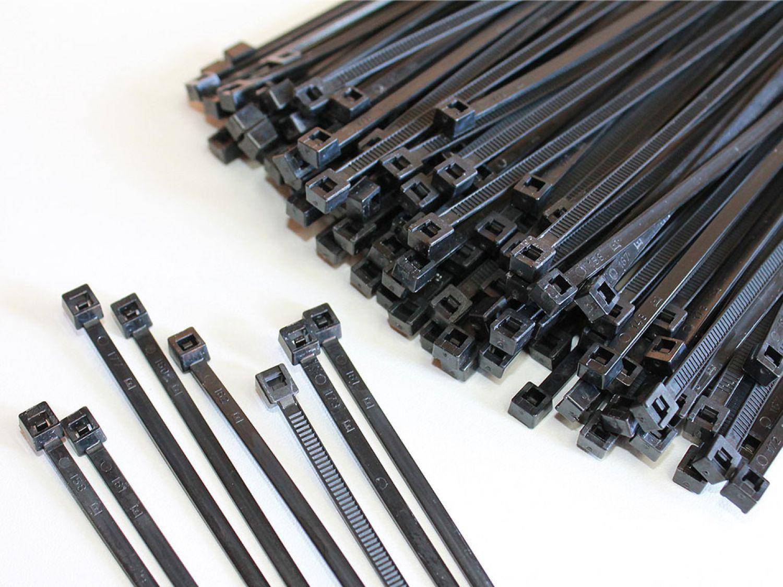 100 St. Kabelbinder Kabelband Basic Tie schwarz Industrie Qualität ...