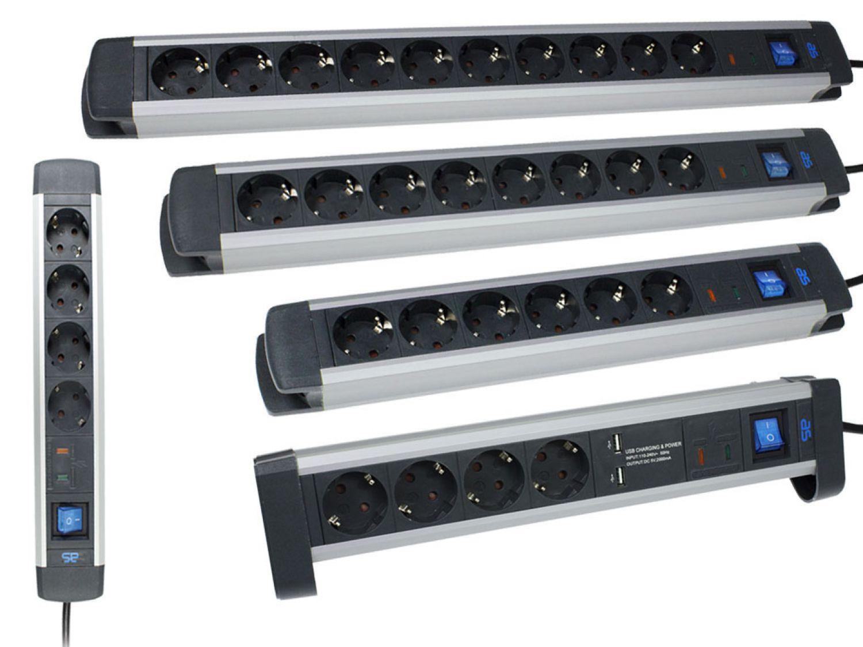 Regleta enchufes m ltiple aluminio s schutz interruptor - Precio de enchufes ...