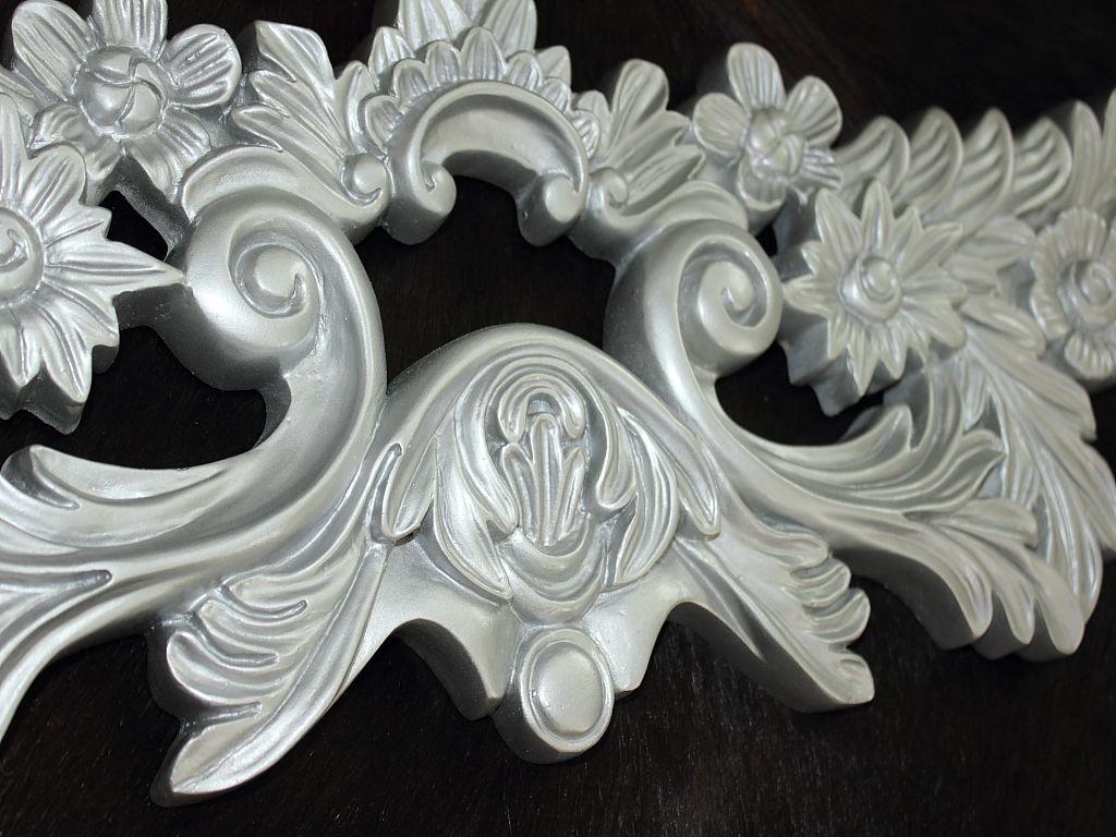 Impressionen wandrelief fl gel silber wanddeko wandbild for Silber deko wand