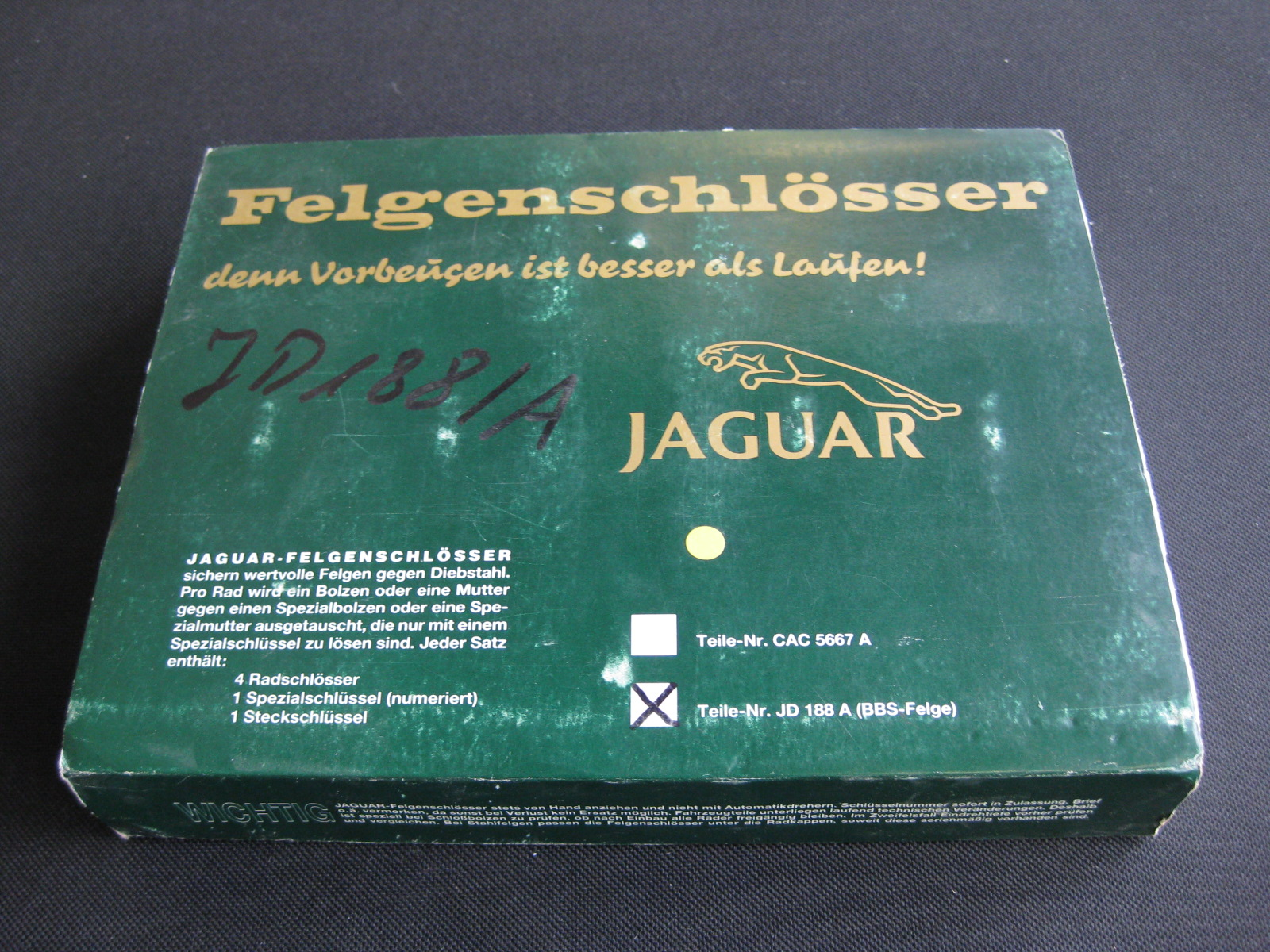 Original Felgenschloss Satz für Jaguar XJ40 XJ81 BBS ...