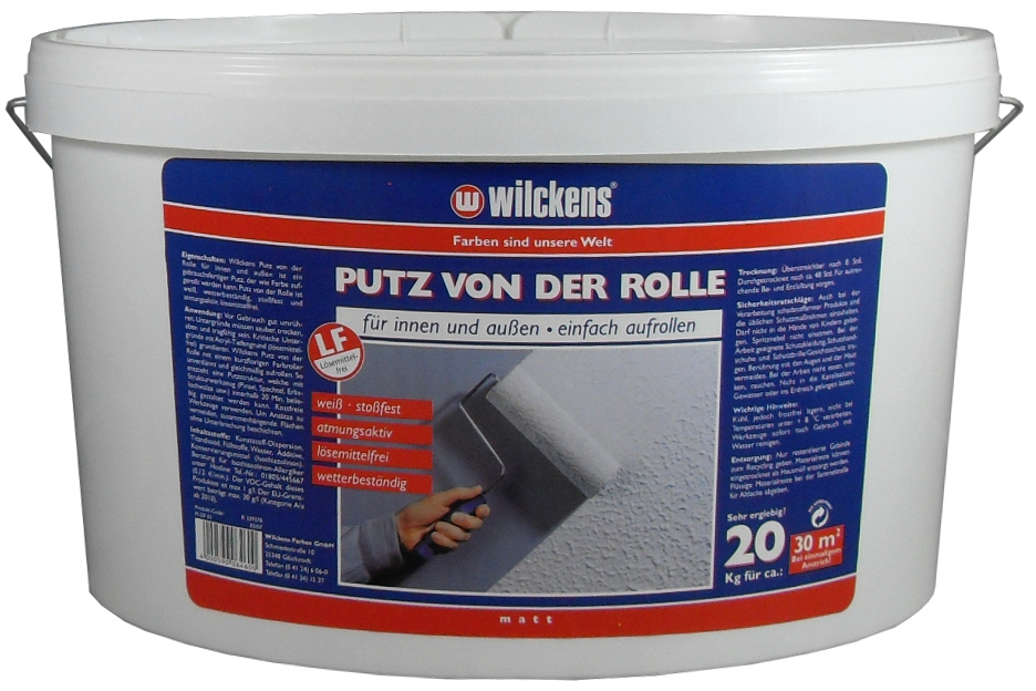 wilckens putz von der rolle rollputz 20 kg ebay. Black Bedroom Furniture Sets. Home Design Ideas