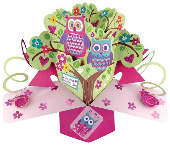 Pop up 3d luxus grusskarte motiv eulen geburtstagskarte - Pop up geburtstagskarte ...