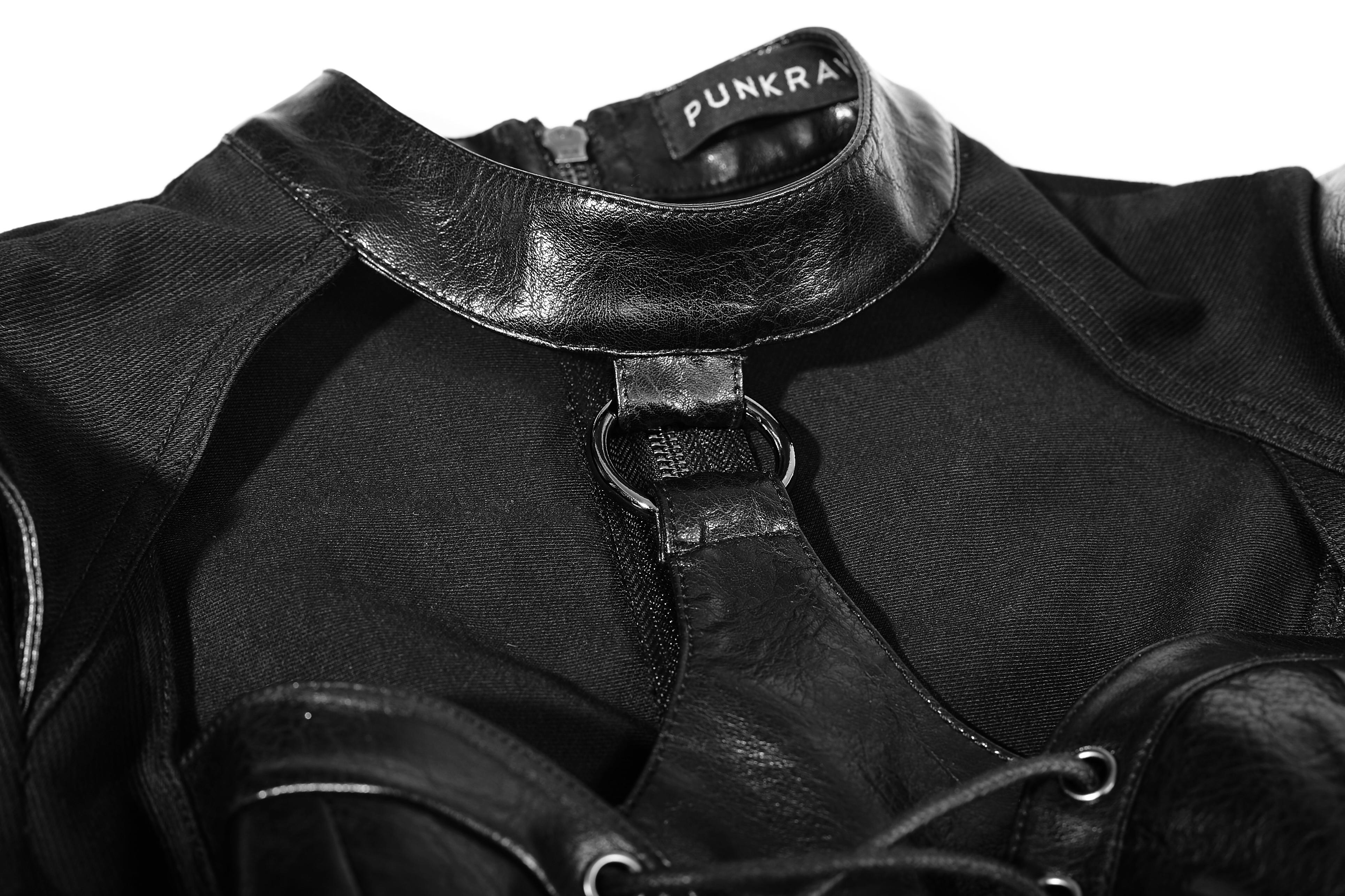 Punk Rave Overalll Gothic wetlook Jumpsuit Hotpants clubwear gogo schwarz 7