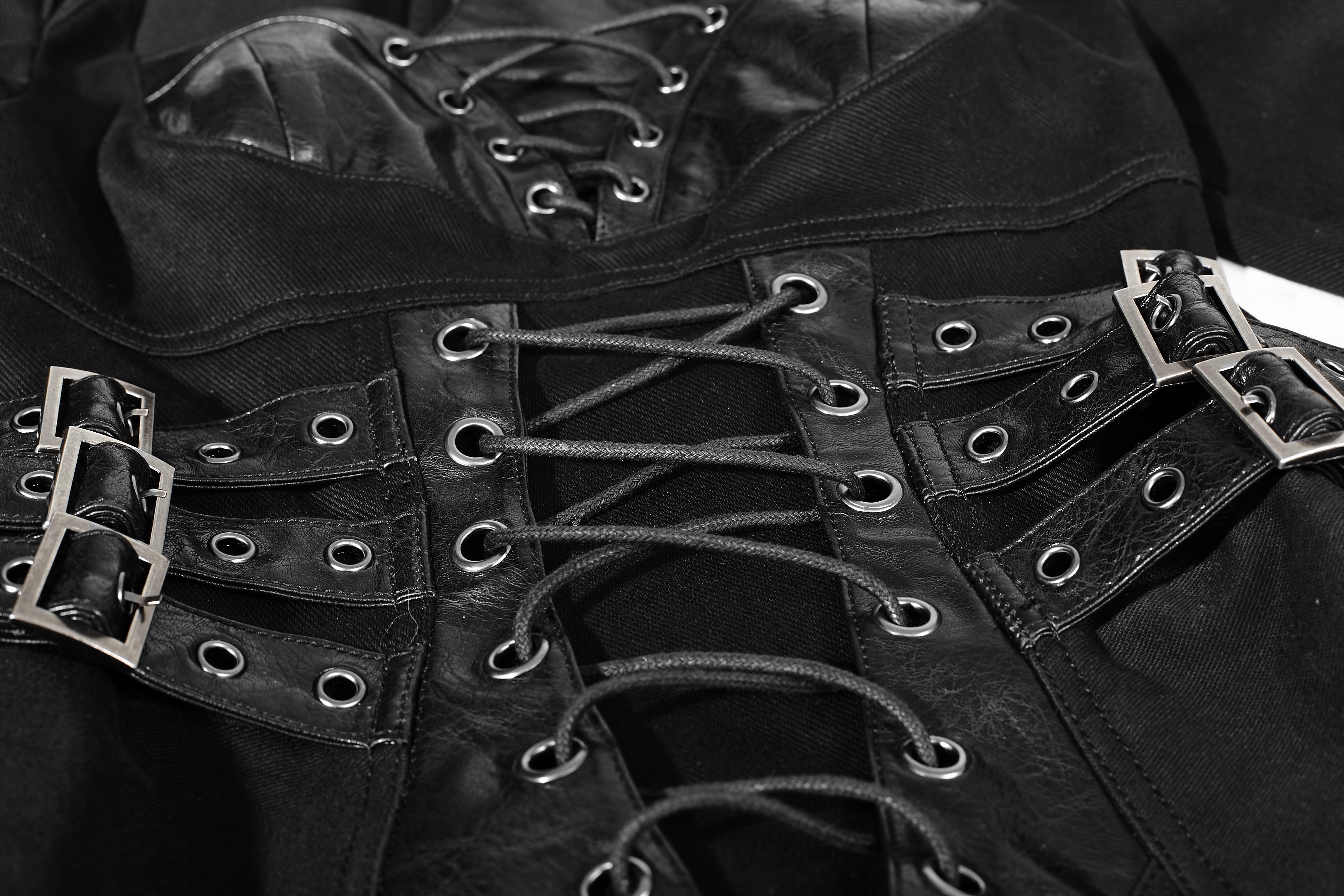 Punk Rave Overalll Gothic wetlook Jumpsuit Hotpants clubwear gogo schwarz 8