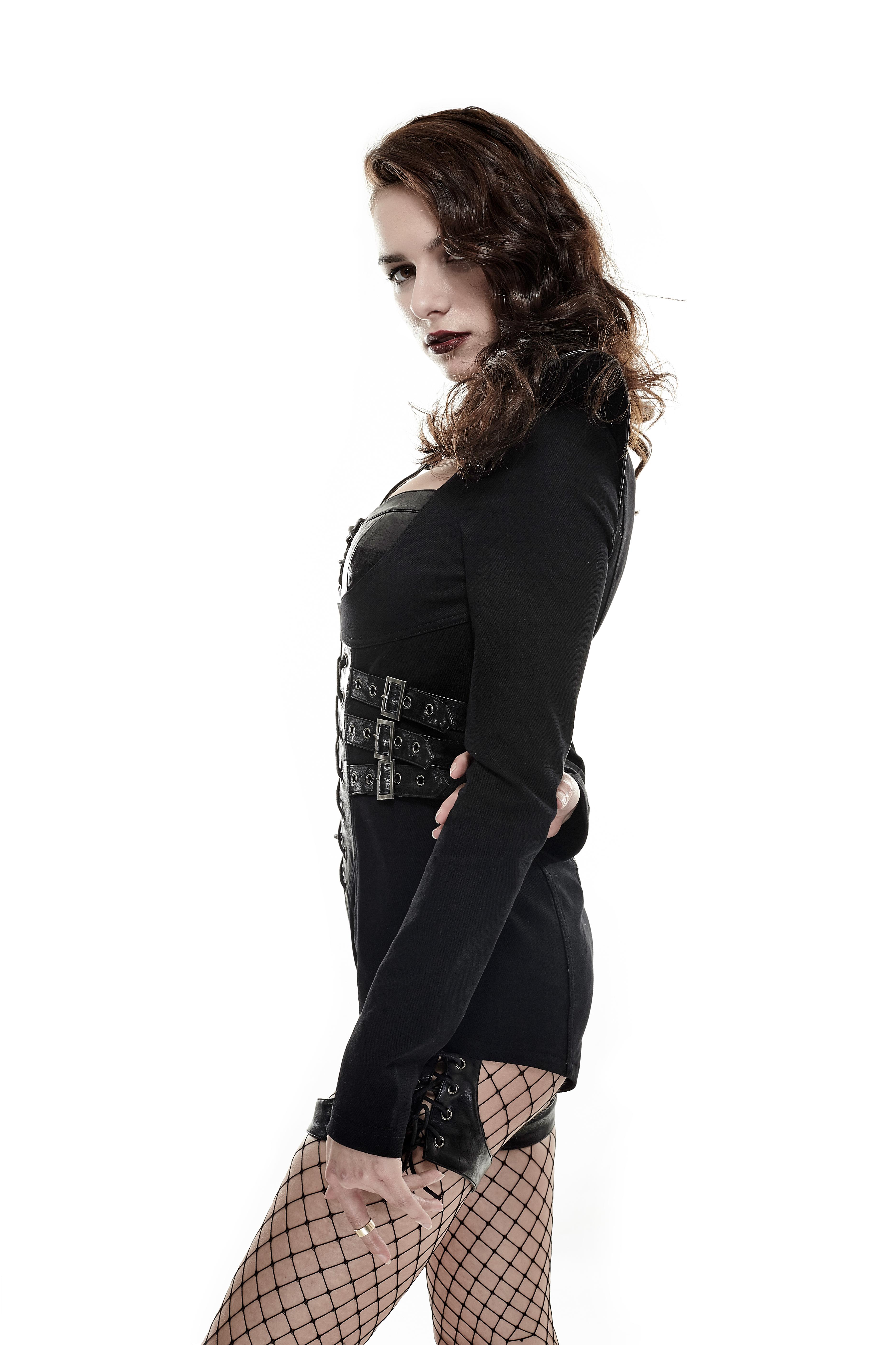 Punk Rave Overalll Gothic wetlook Jumpsuit Hotpants clubwear gogo schwarz 3