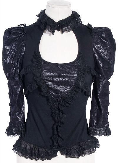 stretch shirt bluse von rq bl steampunk lolita spitze top gothic schwarz ebay. Black Bedroom Furniture Sets. Home Design Ideas