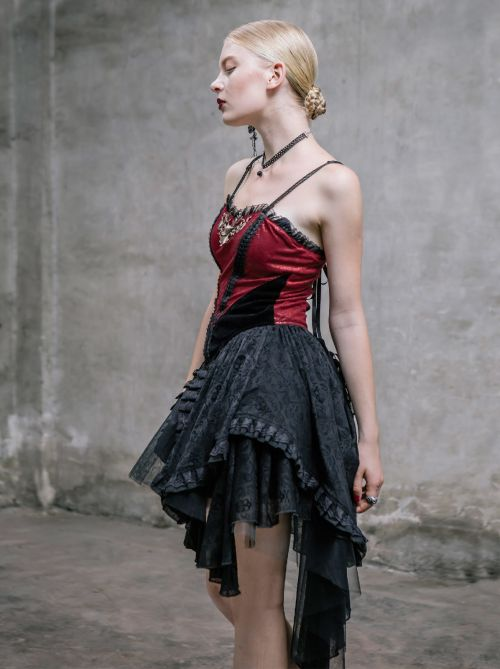 kleid vorne kurz hinten lang gothic abendkleid schwarz rot. Black Bedroom Furniture Sets. Home Design Ideas