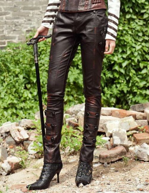 tiny time damen leder steampunk thin legging strumpfhose bleistift hosen 28 braun. Black Bedroom Furniture Sets. Home Design Ideas