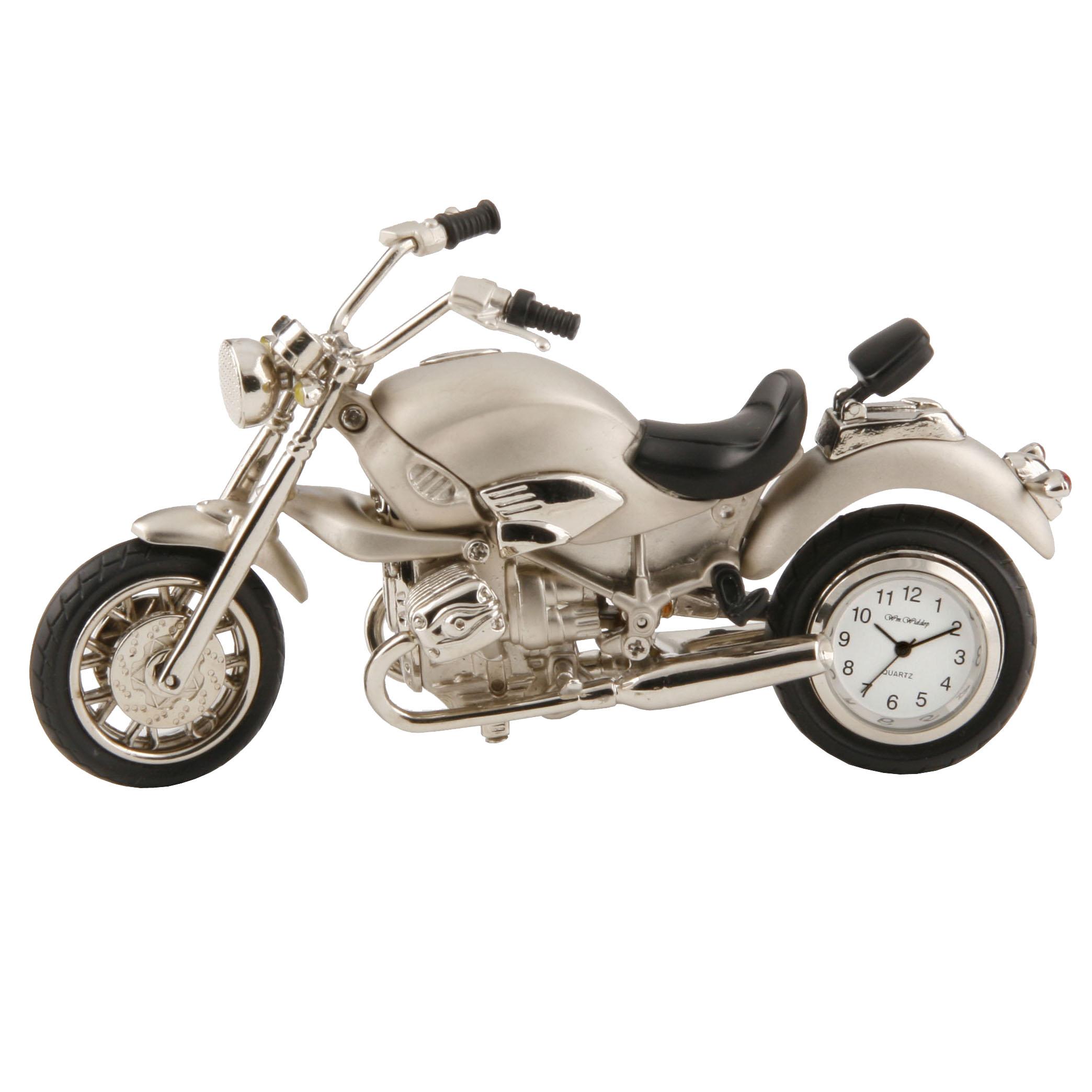 die silberne schreibtischuhr motorrad chopper miniaturuhr versilbert ebay. Black Bedroom Furniture Sets. Home Design Ideas