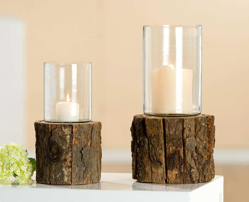 Esstisch Baumstamm Glas ~ Das rustikale Windlicht mit Baumrinde und Glas, Gartenlicht, Baumstamm mit Ri