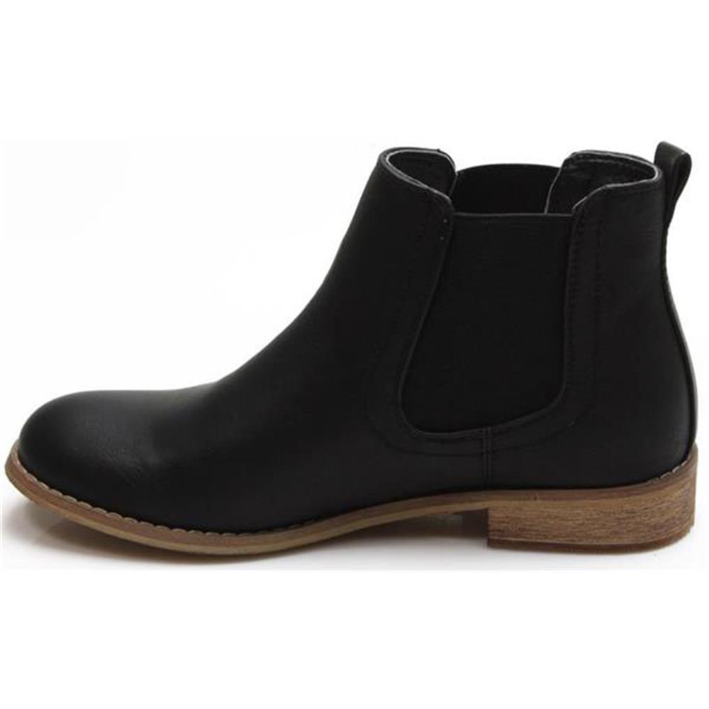 damen stiefeletten chelsea boots flach boots schwarz. Black Bedroom Furniture Sets. Home Design Ideas