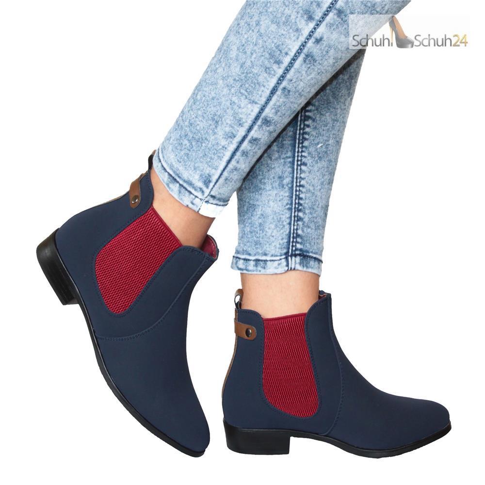 chelsea boots damenschuhe stiefeletten blockabsatz blau. Black Bedroom Furniture Sets. Home Design Ideas