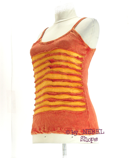 Orange-gelbes-Ethno-Top-Gr-36-40-Hippie-Goa-Kleidung-Bunte-Alternative-Mode