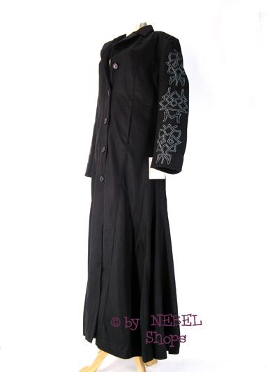 schwarzer damen gothic wollmantel mit tribal stickerei wintermantel gr xxl 46. Black Bedroom Furniture Sets. Home Design Ideas