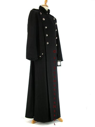 eleganter schwarzer gothic herren wollmantel. Black Bedroom Furniture Sets. Home Design Ideas