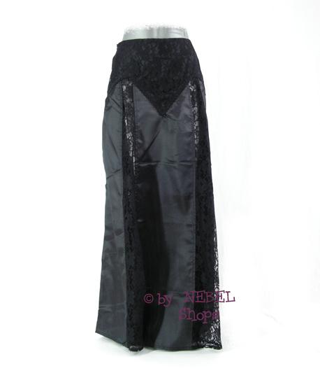 langer nero donna gothic rock in satin pizzo trasparente. Black Bedroom Furniture Sets. Home Design Ideas