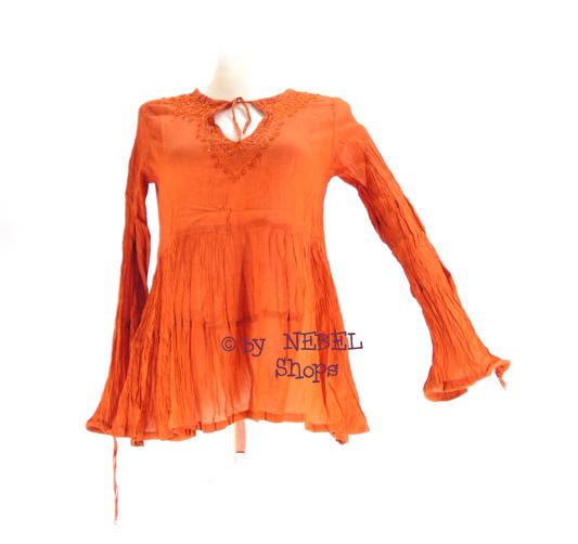 baumwoll damen crinkle bluse stickereien pailletten weinrot orange gr38 42 ebay. Black Bedroom Furniture Sets. Home Design Ideas