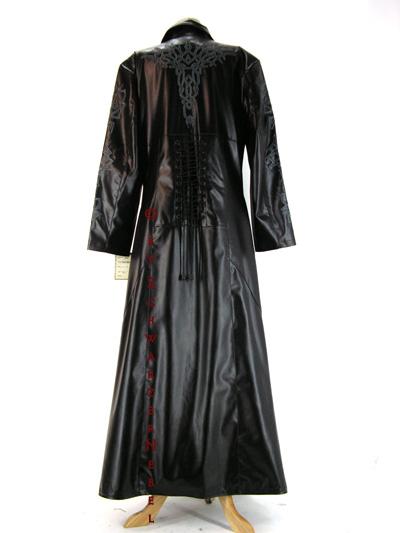 langer schwarzer gothic kunstledermantel mit tribal stick. Black Bedroom Furniture Sets. Home Design Ideas
