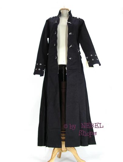 langer gothic damen mantel karabinerhaken lochnieten gef ttert gr 38 42 46 ebay. Black Bedroom Furniture Sets. Home Design Ideas