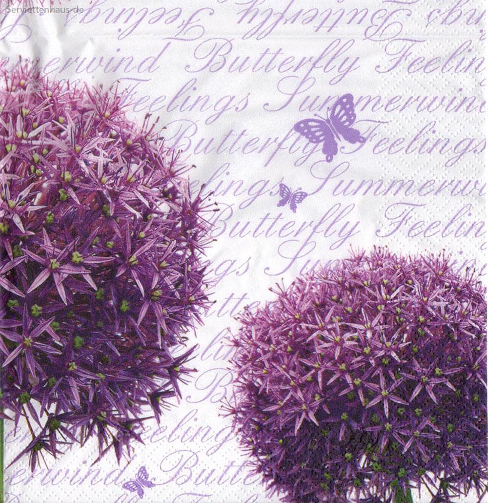 lauch in lila mit schmetterlingen 4 servietten ebay. Black Bedroom Furniture Sets. Home Design Ideas
