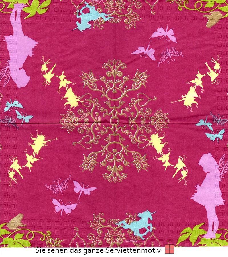 elfe in pink auf brombeere 4 servietten ebay. Black Bedroom Furniture Sets. Home Design Ideas