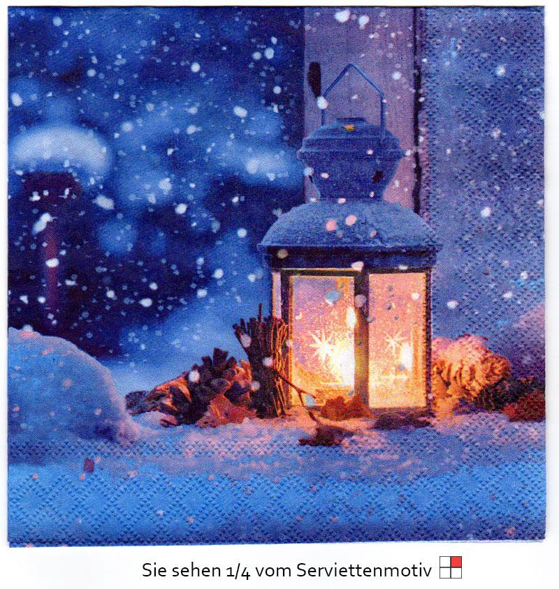 leuchtende laterne im schnee 4 servietten ebay. Black Bedroom Furniture Sets. Home Design Ideas
