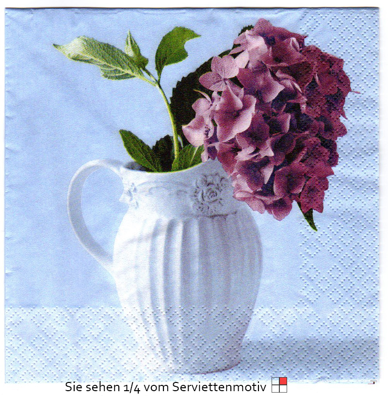 vase mit hortensien in lila 4 servietten ebay. Black Bedroom Furniture Sets. Home Design Ideas