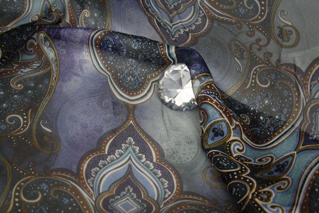 paisley blau gold seide chiffon ornamente stoff versch reste orient bekleidung ebay. Black Bedroom Furniture Sets. Home Design Ideas