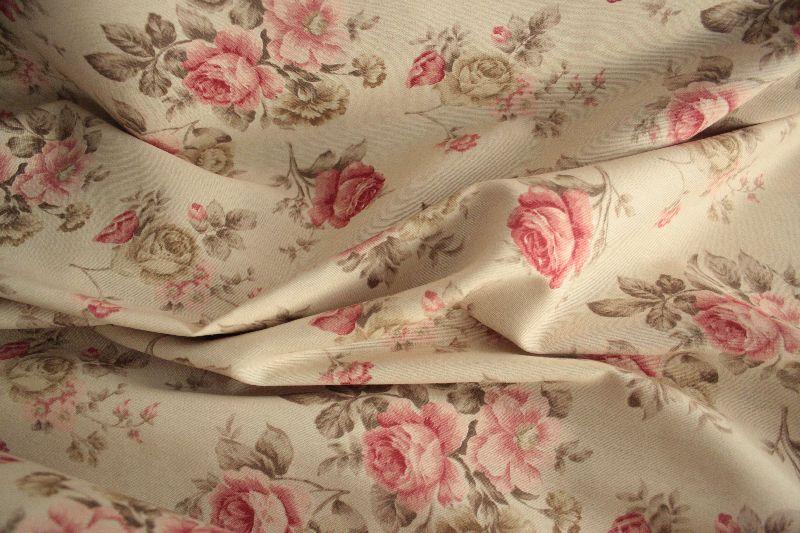gardine deko stoff rosen 0 5m tasche vorhang meterware romantisch kissen neu. Black Bedroom Furniture Sets. Home Design Ideas
