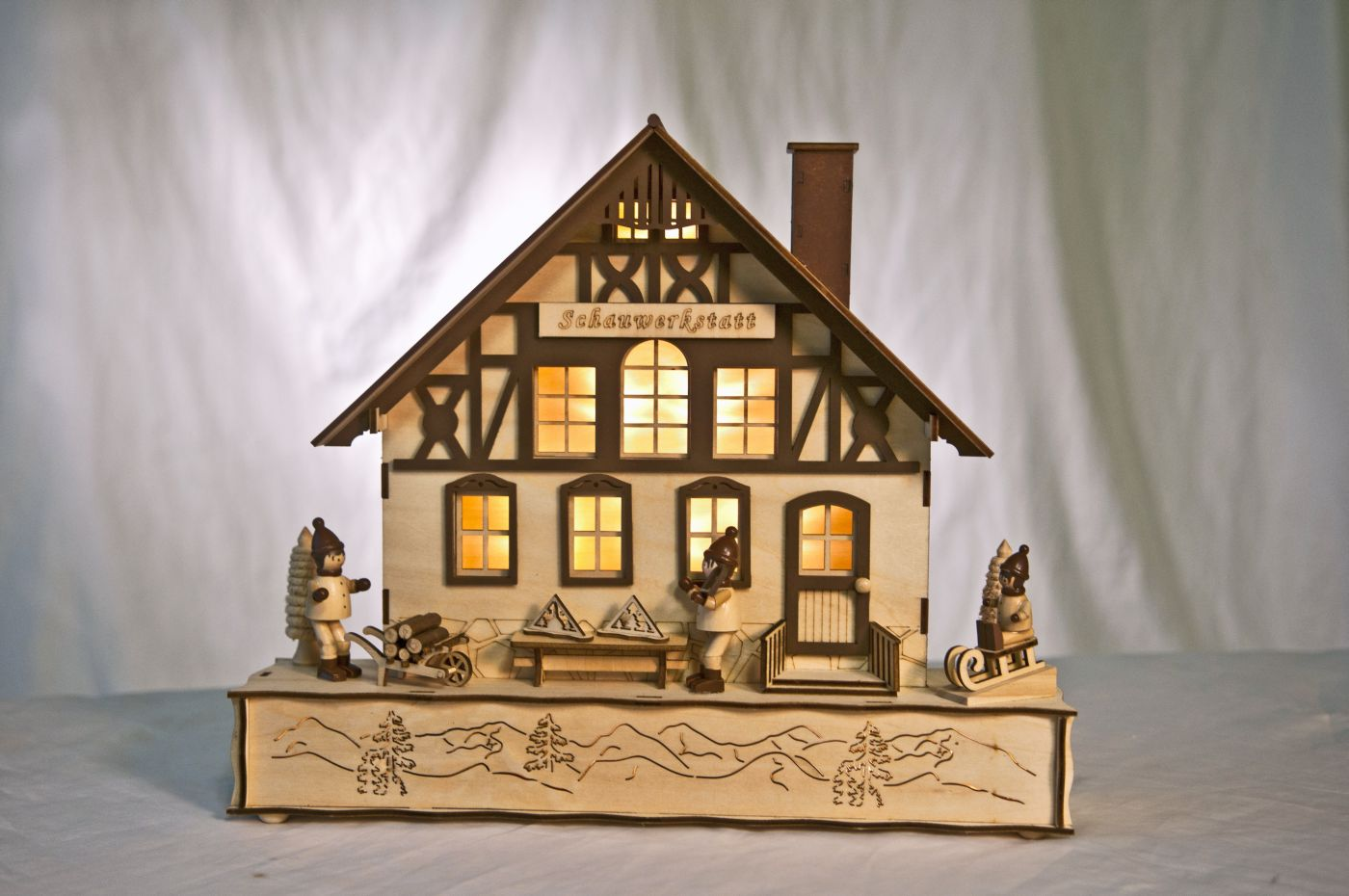 lichterhaus schauwerkstatt led beleuchtung leuchthaus holz weihnachtshaus ebay. Black Bedroom Furniture Sets. Home Design Ideas